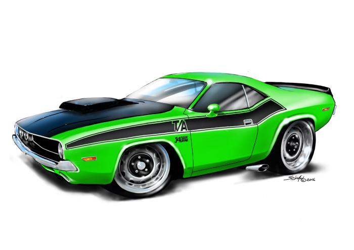 American Muscle Cars Cartoon Drawings Auto Art