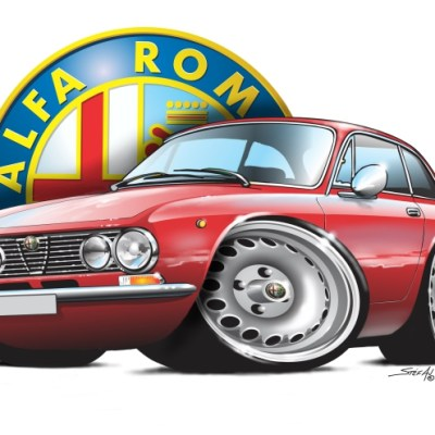 74Alfa GTV2000 Red, cartoon car art, cartoon car drawings, car art, alfa romeo,shop italian classics,