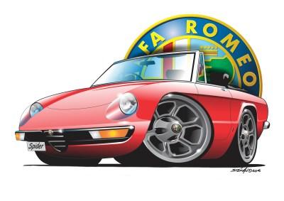 Alfa spider2 red, cartoon car art, cartoon car drawings, cartoon cars,droptops, italian classics,