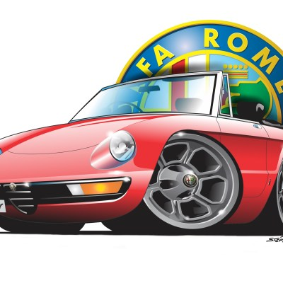 Alfa spider2 red, cartoon car art, cartoon car drawings, cartoon cars,droptops, italian classics,