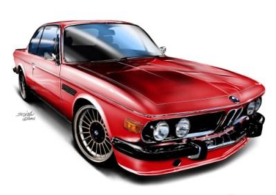 bmw csl, car art, car drawings,