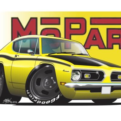 Hemicuda, american muscle, Barracuda mopar - yellow,