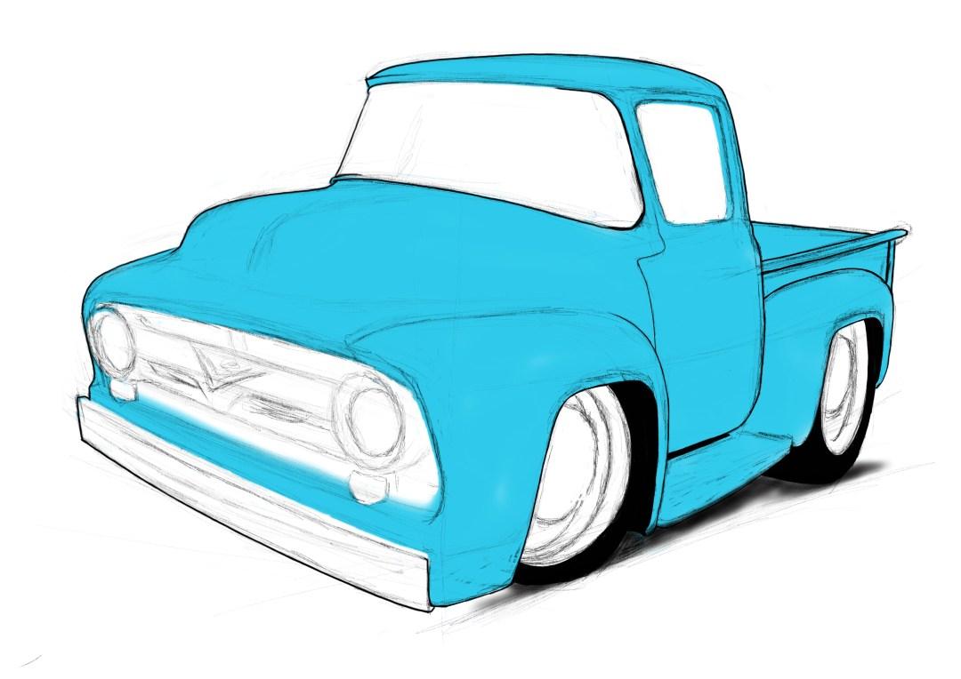 56 Ford pickup, Cartoon car drawings,