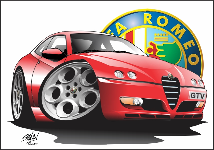 alfa gtv facelift cartoon red