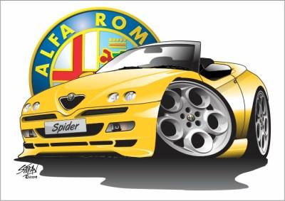 alfa spider cartoon yellow