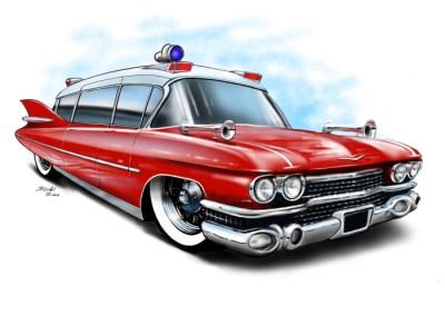 Cadillac Ambulance red