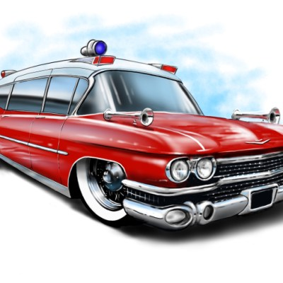 cadillac ambulance red, caroon car art, cartoon car drawings,