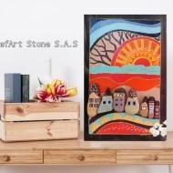 Картина пейзаж с къщи рисувани камъни