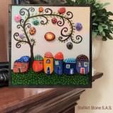 Картина Шареното село, рисувани камъни