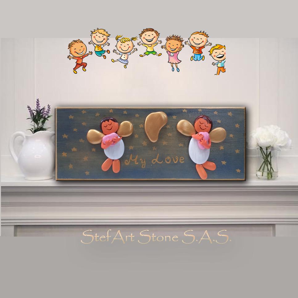 картина, картини, бебе, стая, декориране, бебешка, ангелчета, любов, сърца, синьо, небесно синьо, пана, пано, дървени, ръчна изработка, картини с камъни, рисувани камъни, подарък за бебе, момиче, момче, луна