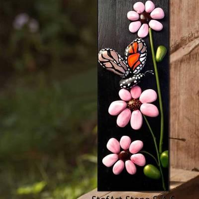 картина с цветя розов цвят черно