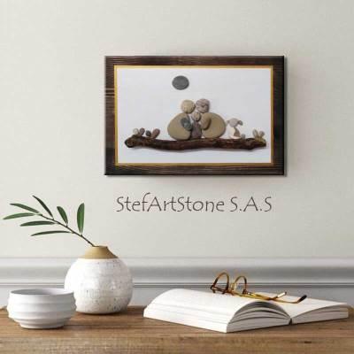пано за стена семейство, картини и пана, декорация дом, куче, картини с камъни