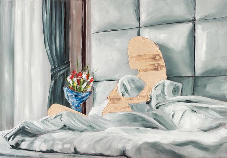 ohne Titel VII/16, Öl und Flachstich auf Schichtholzplatte, 60 x 42 cm, 2016