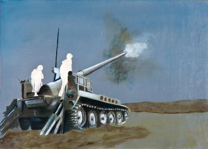 Irgendwo ist immer ein Krieg I/14, Öl und Flachstich auf Schichtholzplatte, 30 x 42 cm, 2014