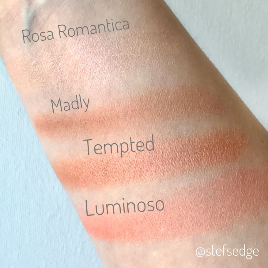 Blush swatches of Milani Rosa Romantica, Nars Madly, Nars Tempted, and Milani Luminoso