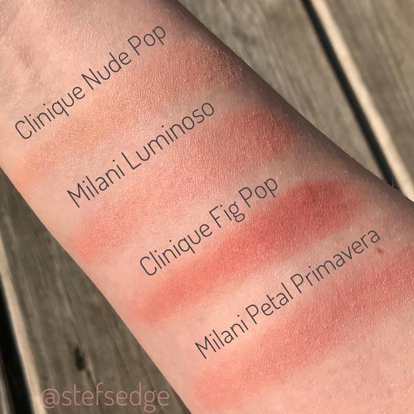 Blush Swatches on fair skin - Clinique Nude Pop, Milani Luminoso, Clinique Fig Pop, and Milani Petal Primavera.