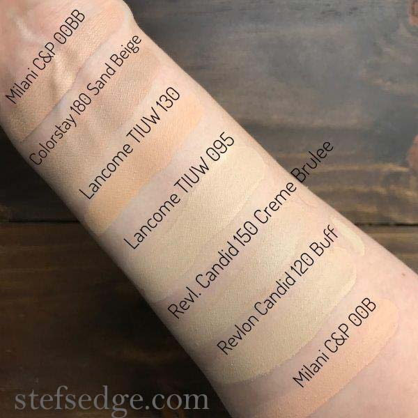Foundation Swatches Lancome Teint Idole Ultra Wear 24 hours 095 Ivoire Warm/Yellow, 130 Ivoire Neutral fair, Revlon Buff and Creme Brulee, Milani Conceal & Perfect 00B and 00BB