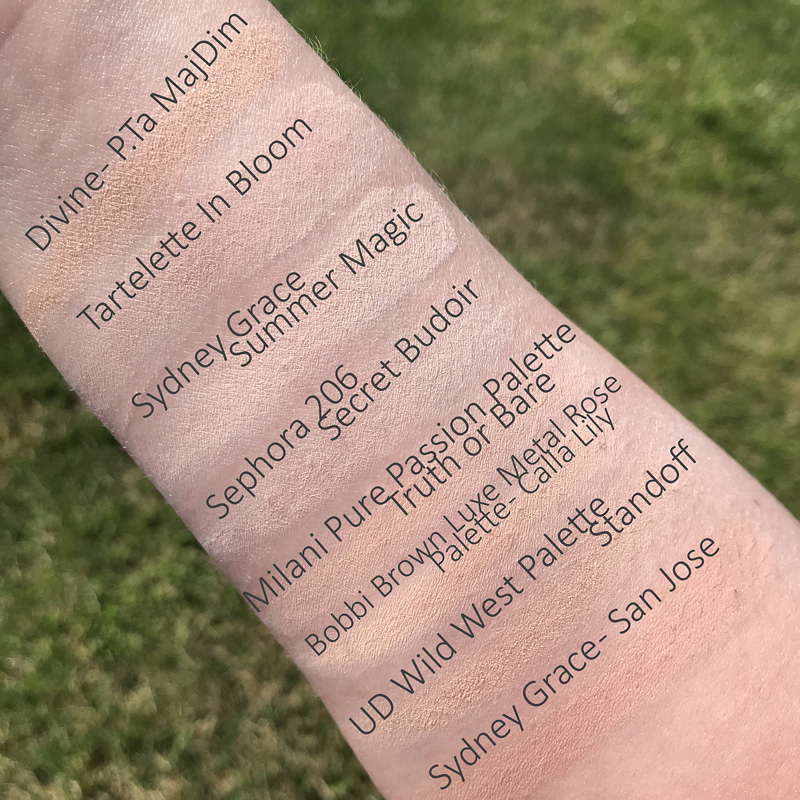 Shade Divine from patrick ta major dimension palette swatched with other similar shades.