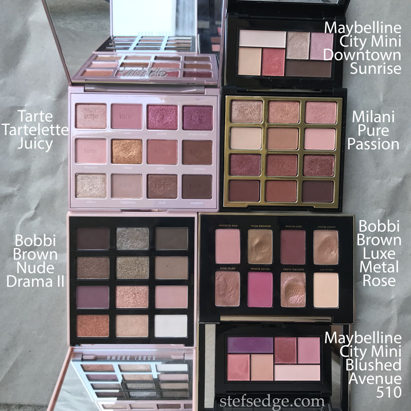Pink/brown/purple toned palette comparison: Tarte Tartelette Juicy, Bobbi Brown Nude Drama II, Maybelline City Mini Downtown Sunrise, Milani Pure Passion, Bobbi Brown Luxe Metal Rose