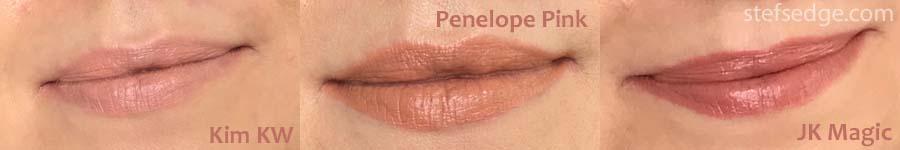 Charlotte Tilbury lipstick swatches fair skin Kim KW, Penelope Pink, JK Magic