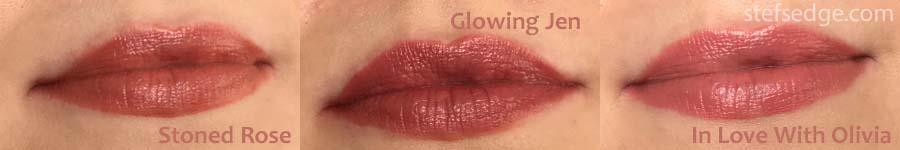 Charlotte Tilbury K.I.S.S.I.N.G. lip swatches on fair skin - Stoned Rose, Glowing Jen, and In Love With Olivia