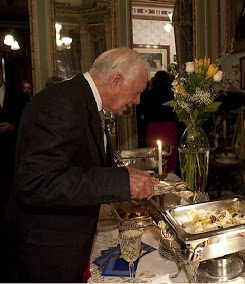 Former President Jimmy Carter, dining at the Frederick Stegmaier Mansion