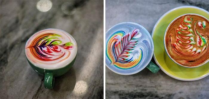barista cria bebidas a base de cafe coloridas obras de artes em cafe5