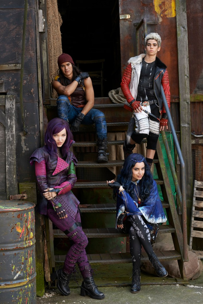 "DESCENDANTS - Disney Channel's original movie ""Descendants"" stars Dove Cameron as Mal, BooBoo Stewart as Jay, Sofia Carson as Evie and Cameron Boyce as Carlos. (DISNEY CHANNEL/Bob D'Amico)"
