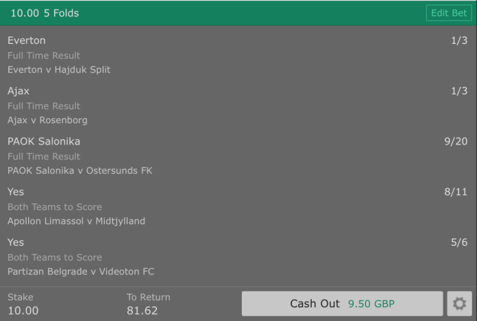 Europa League 5 Fold Accumulator - 7/1