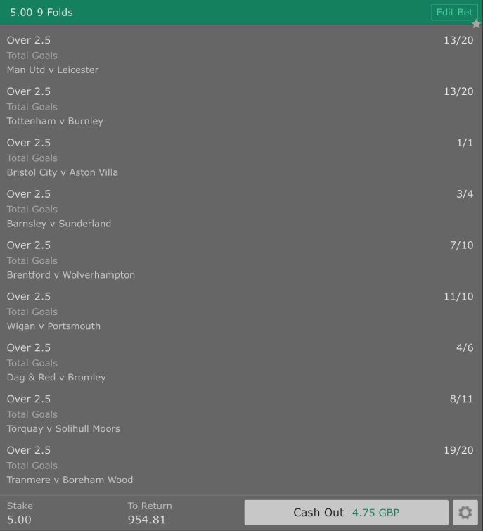 Footy Accumulator 9 Fold Over