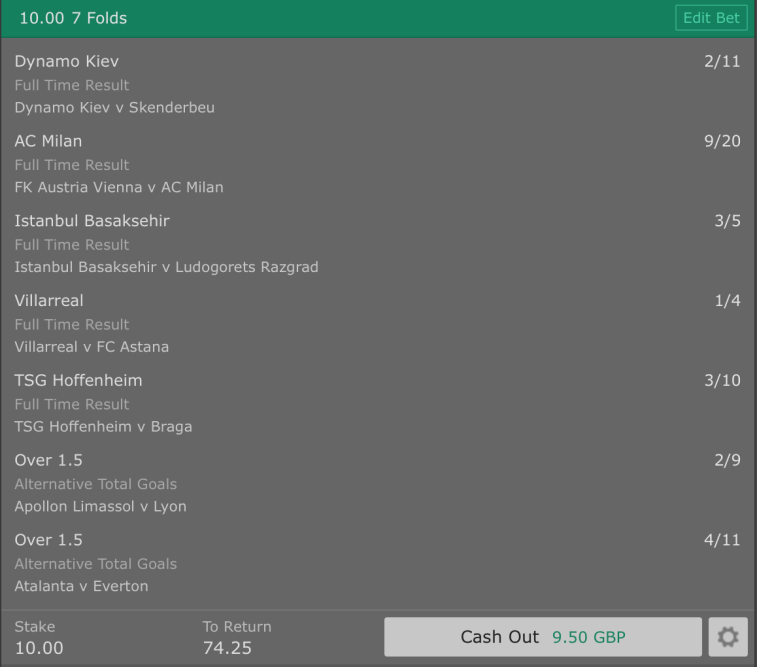 Footy Accumulator Europa League - 6pm Kick Off - 7 Fold - 6.4/1