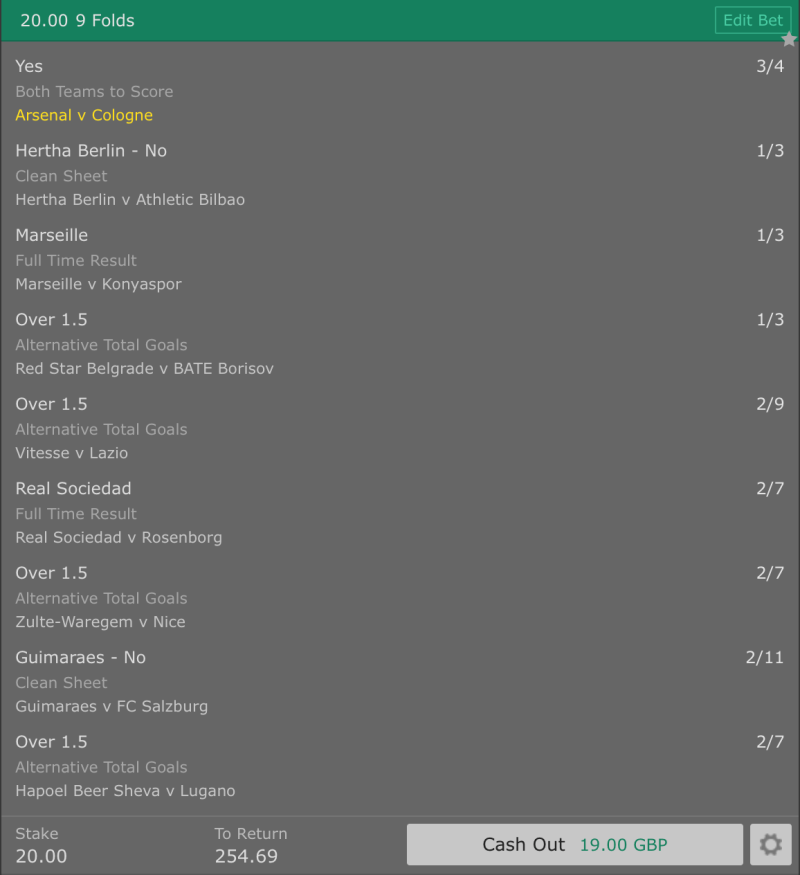 Footy Accumulator Europa League - 8:05pm Kick Off - 9 Fold - 12/1