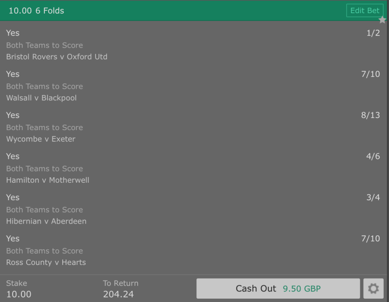 Footy Accumulator Both Teams to Score - BTTS - 6 Fold - 19/1