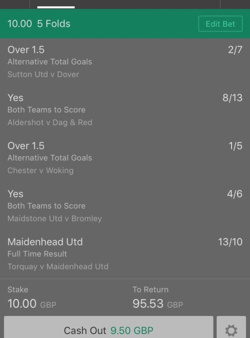 Footy Accumulator National League Football 5 Fold - 8.9/1
