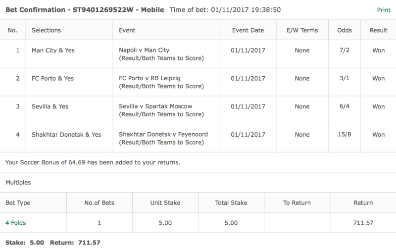 Free Football Tips - European Football BTTS Result - 4 Fold - 146/1
