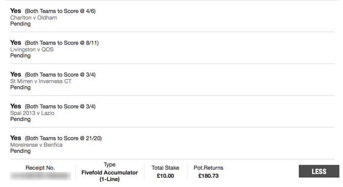 Free Football Tips - Both Teams to Score - 5 Fold - 17/1