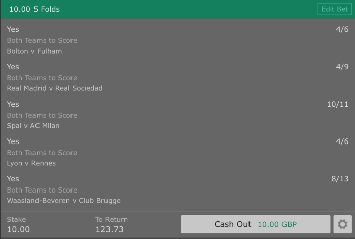Footy Acca - Both Teams to Score (BTTS)- 5 Fold - 11/1