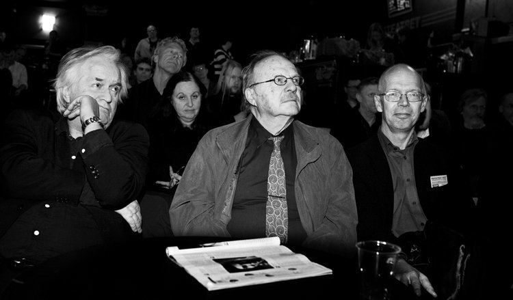 Med Henning Mankell og Jan Myrdal på Parkteatret under Øgrim-seminaret i 2007.