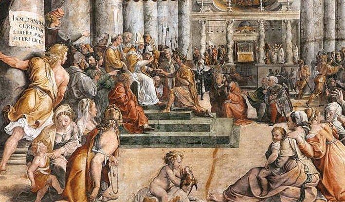 KOnstantin overrekker Romas nøkler (utsnitt) klikk på bildet for større versjon