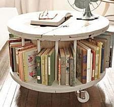 Houten kabel haspel en klos hergebruik als tafels en stoelen
