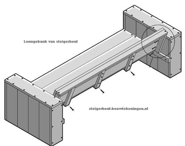 Bouwtekening voor steigerhout tuinbanken loungebank XL