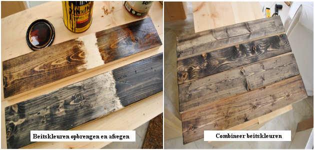 Hout beitsen imiteer het houtverouderingsproces