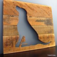 Wandpaneel maken dierfiguren van steigerhout en pallets