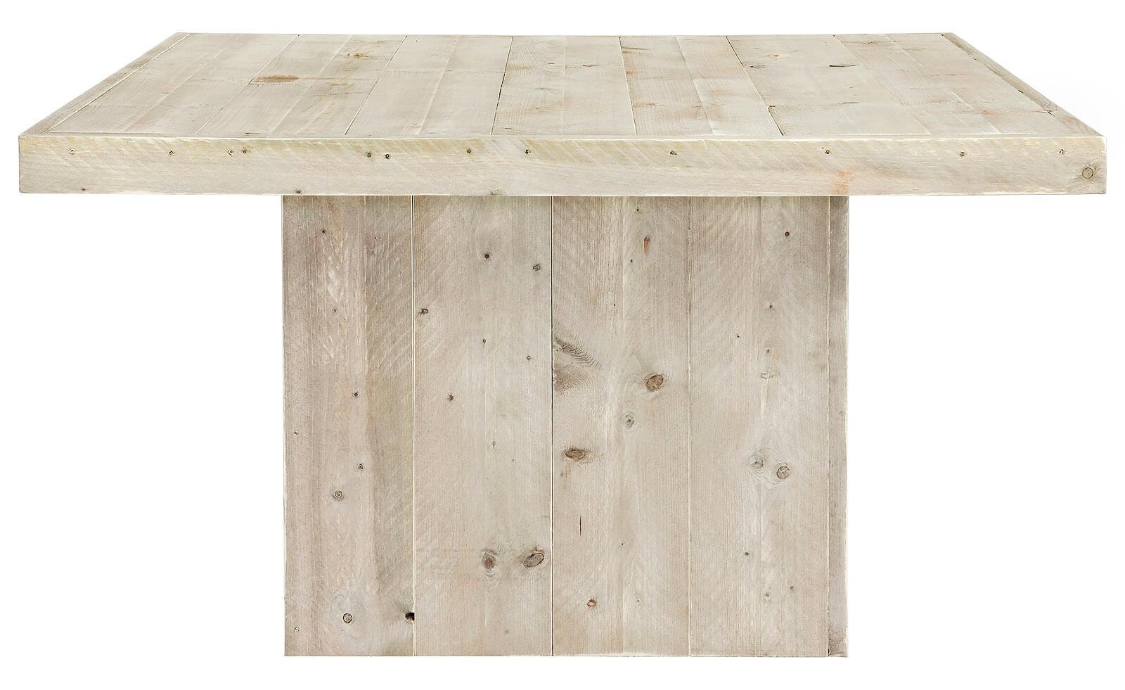 Steigerhouten vierkante tafel Pierre met kolompoot 20