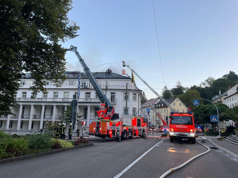 Dachstuhlbrand in der Baden-Badener Innenstadt