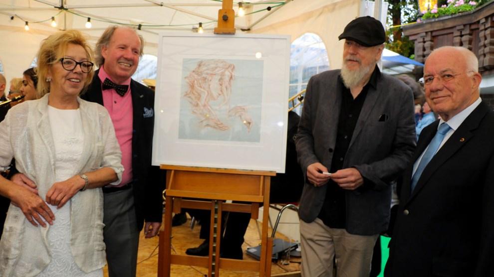 Afra-Lithographie-Präsentation mit Annaliese und Günther Stecher, Franz Mölk, Landtagspräsident Herwig van Staa, Foto: Knut Kuckel