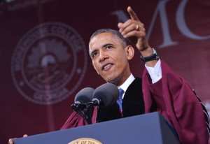 President Obama delivers the commencement address during a ceremony at Morehouse College on Sunday in Atlanta, Georgia.