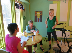 KimSu Theiler, left, plays a journalist interviewing an artist played by Flora Coker, center, in Daredevils, the first feature-length film by Stephanie Barber, right.