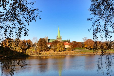 Nidarosdomen surround by autumn colors.