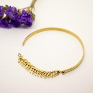 bracelet jonc effet brossé avec chainette maillons palmier